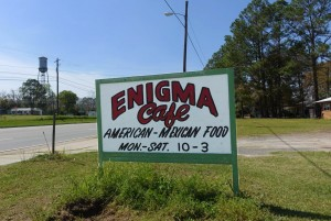 Roadside Sign for Enigma Cafe