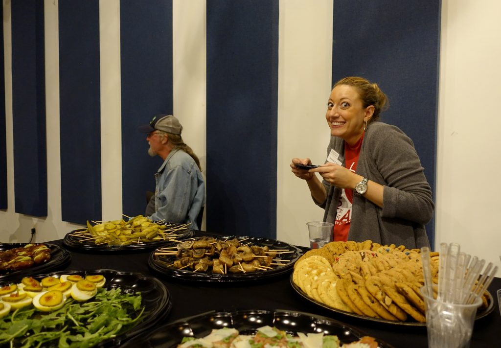 Amanda Sharp of UGA Press enjoying catering from Home.Made in Athens, photo courtesy of BMG