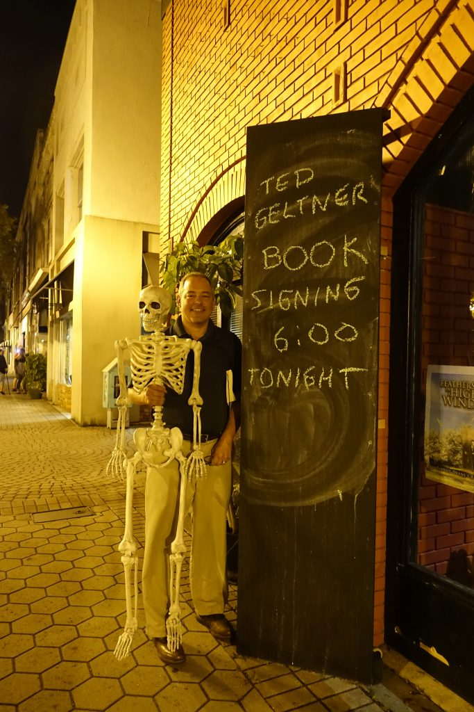 Author Ted Geltner with a bony fan of Blood, Bone, and Marrow