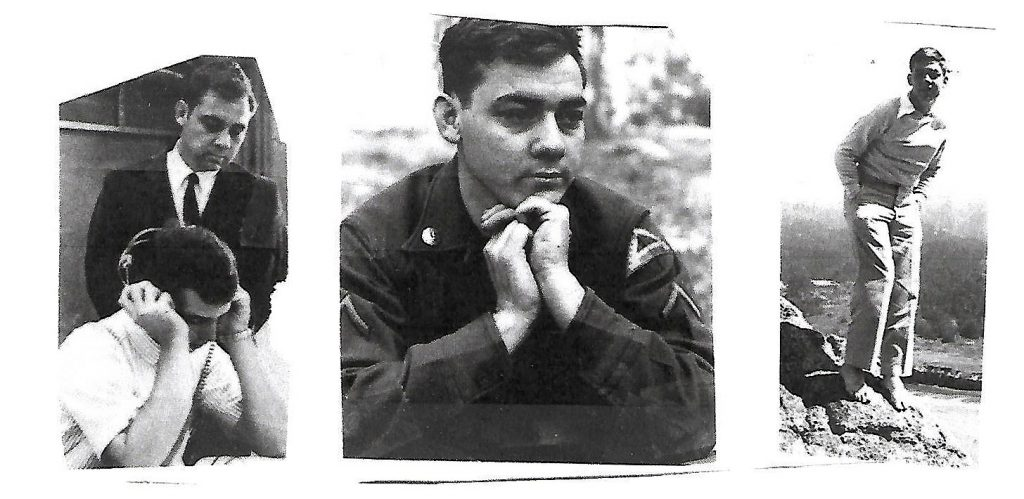 Don Lewis in his younger years (L) teaching at Gulf Coast Community College (when Harry Crews taught at Broward Community College), (Center) in the U.S. Army in Germany, and (R) at the Army Language School in Monterey, CA