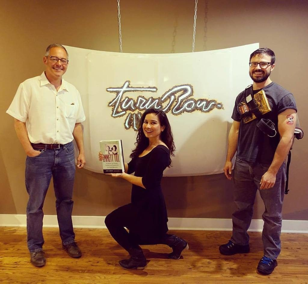 Ted Geltner, Shannon Byrne of Byrne Media Group, and Taylor Brown at Turnrow Book Co.