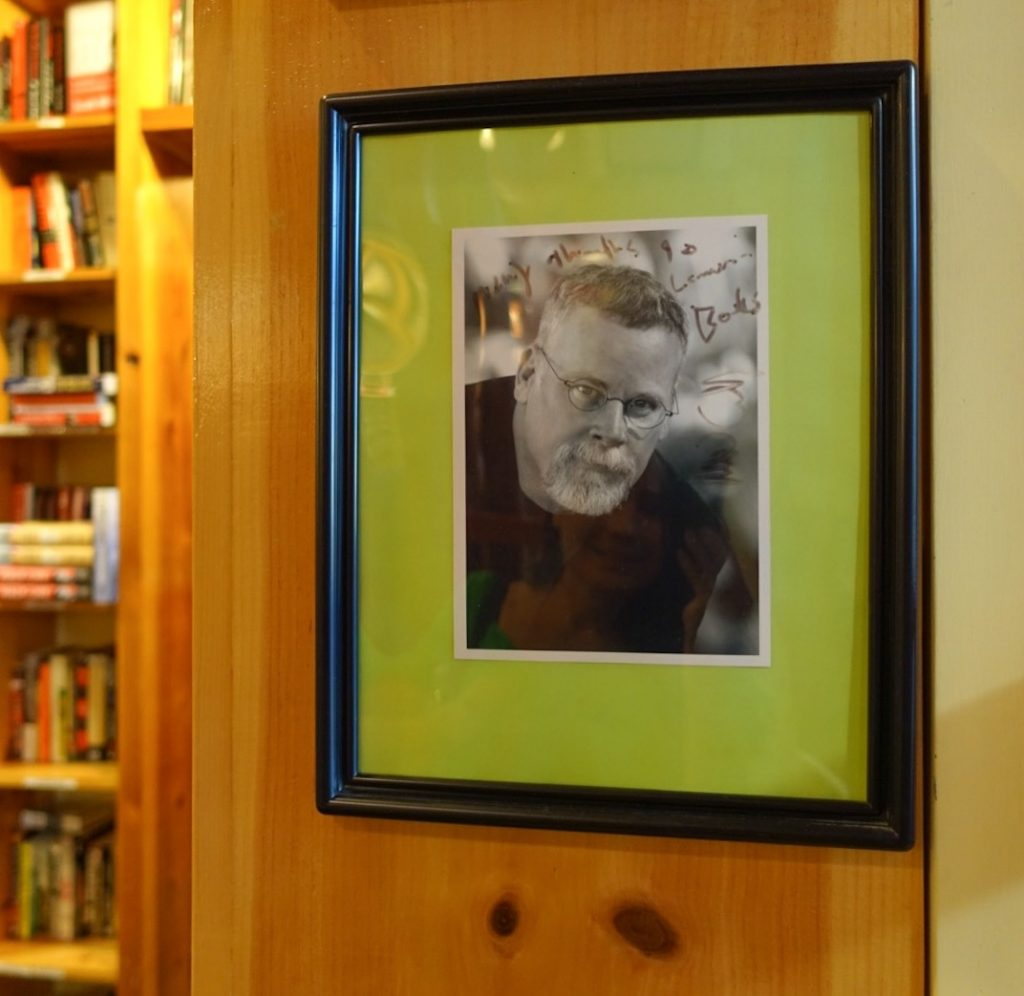 Michael Connelly, who wrote the foreword to Blood, Bone, and Marrow also appears on the wall at Lemuria.