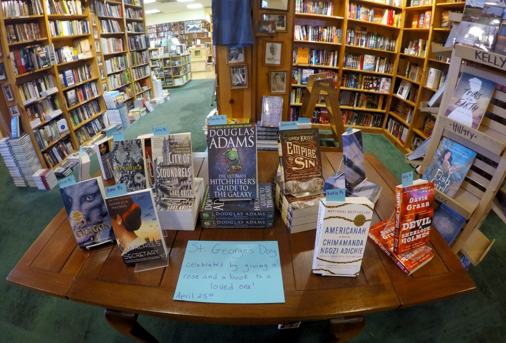 Lemuria Books celebrates St. George's Day by having a contest among the booksellers to see who can handsell the most copies of a particular book he or she chose.